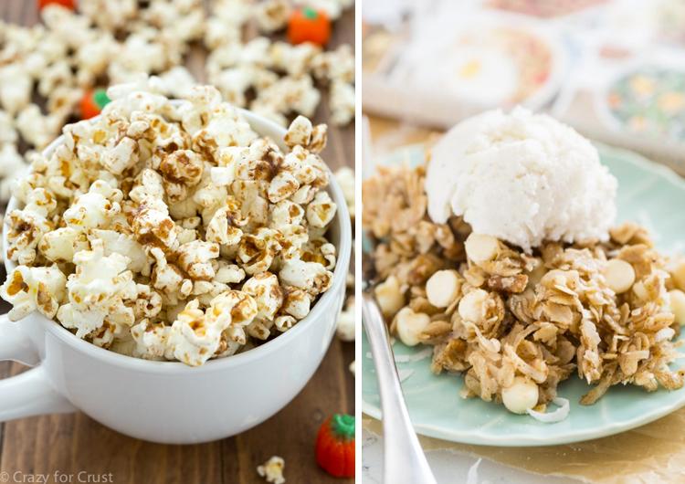 Crazy for Crust Pumpkin Spice Popcorn and Coconut Pumpkin Spice Granola