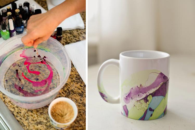 DIY Nail Polish Marbled Mugs