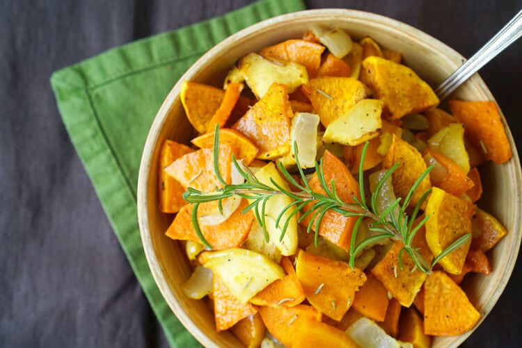 Roasted Sweet Potatoes, Squash & Apples | Happiness is Homemade