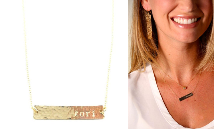 Gold Bar Name Necklace By Bip & Bop