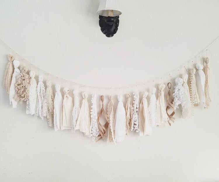 White/Natural Tassel Garland By Ramen Hands