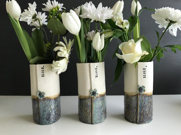"Large Handmade Ceramic ""Bloom"" Vase By Cinder Ceramics"