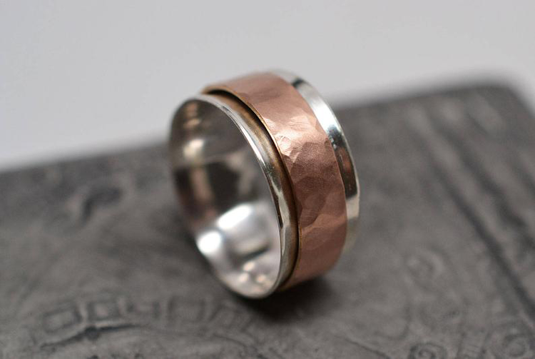 Sterling Silver and Hammered Rose Gold-Filled Spinner Ring By ZS Art Jewelry & Glass